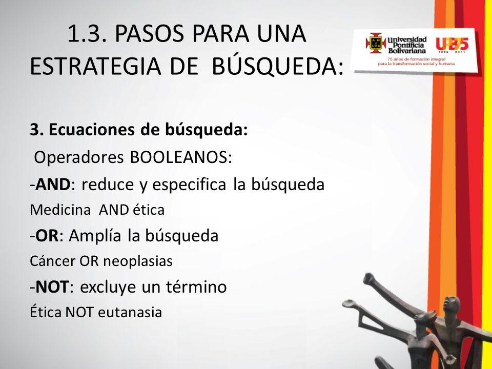 1.3. PASOS PARA UNA ESTRATEGIA DE BÚSQUEDA: