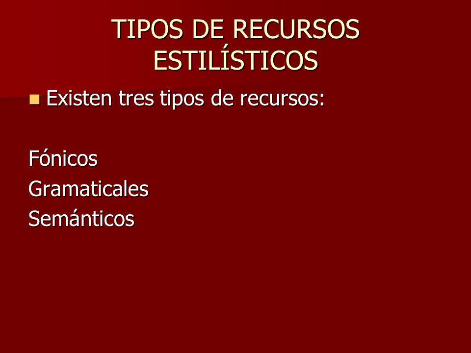TIPOS DE RECURSOS ESTILÍSTICOS