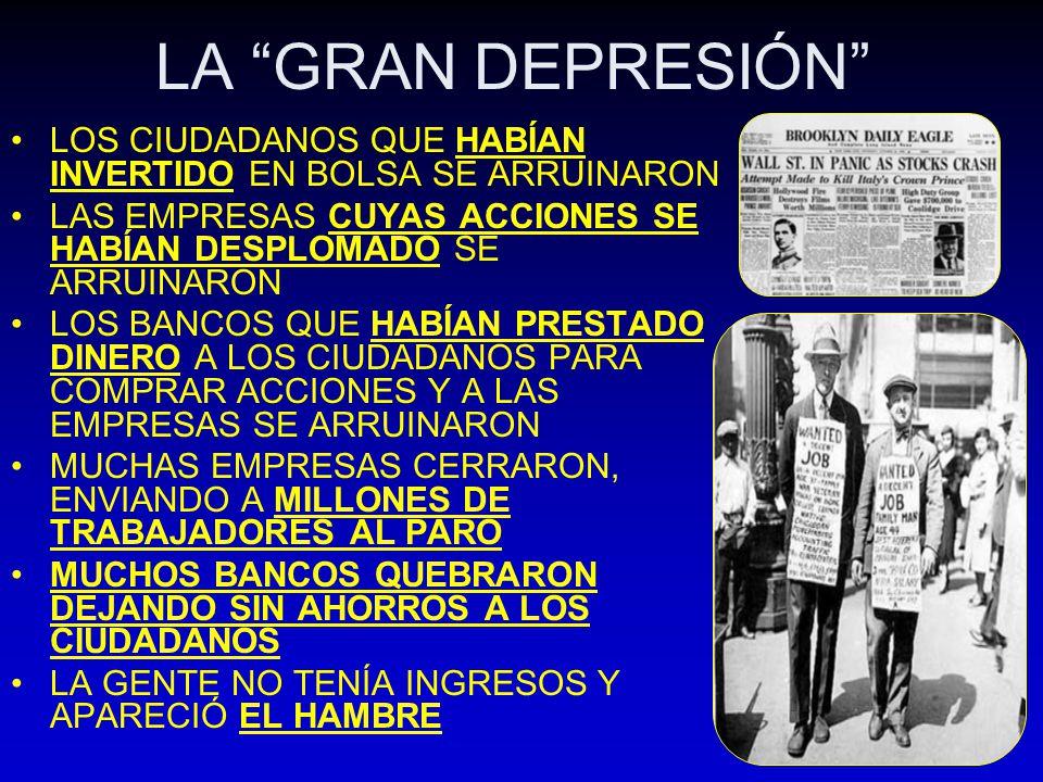 LA GRAN DEPRESIÓN LOS CIUDADANOS QUE HABÍAN INVERTIDO EN BOLSA SE ARRUINARON. LAS EMPRESAS CUYAS ACCIONES SE HABÍAN DESPLOMADO SE ARRUINARON.