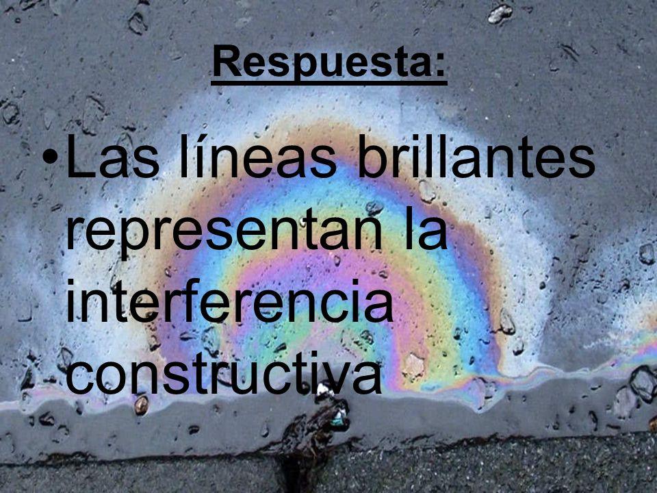 Las líneas brillantes representan la interferencia constructiva