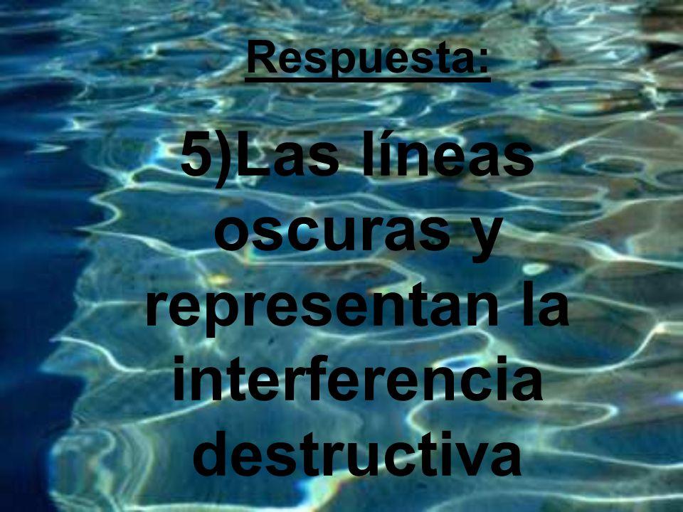 5)Las líneas oscuras y representan la interferencia destructiva