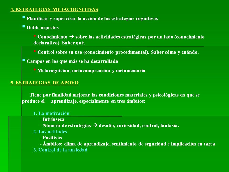 4. ESTRATEGIAS METACOGNITIVAS