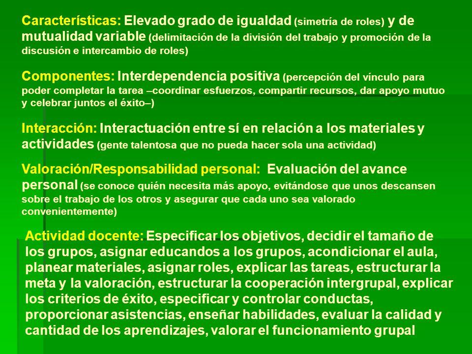 Características: Elevado grado de igualdad (simetría de roles) y de mutualidad variable (delimitación de la división del trabajo y promoción de la discusión e intercambio de roles)