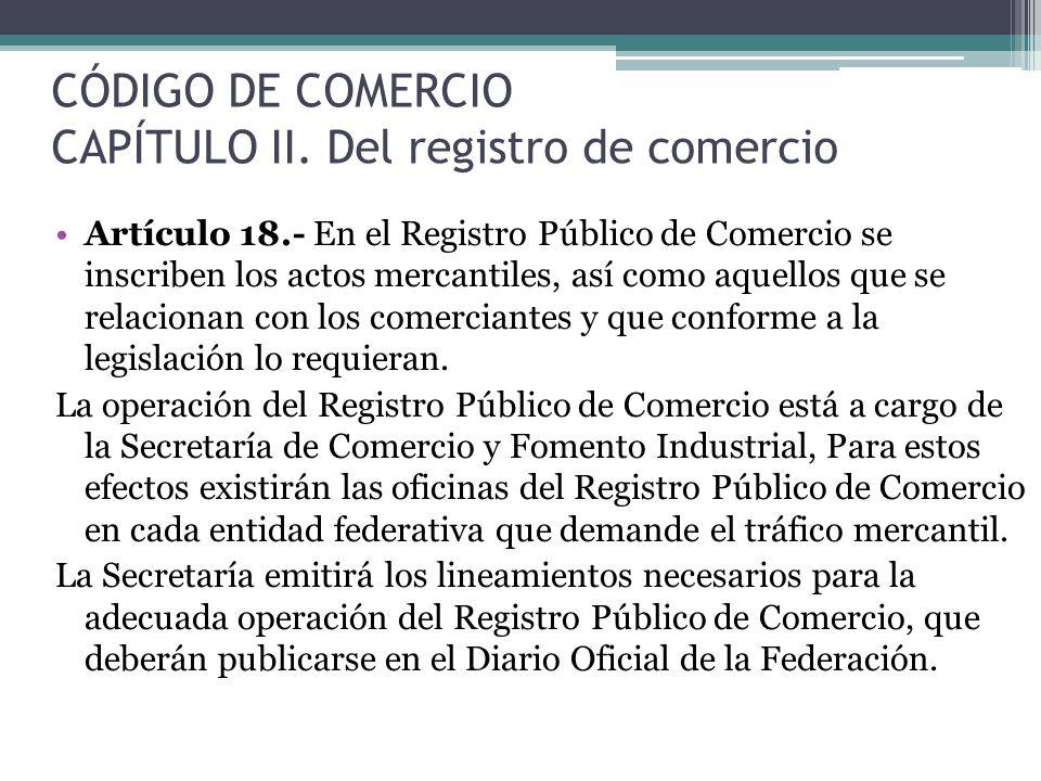 CÓDIGO DE COMERCIO CAPÍTULO II. Del registro de comercio