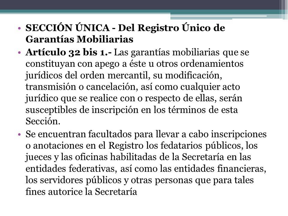 SECCIÓN ÚNICA - Del Registro Único de Garantías Mobiliarias