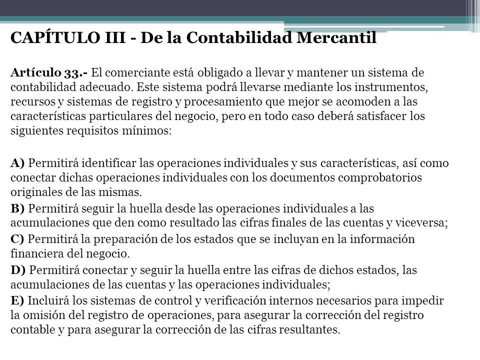 CAPÍTULO III - De la Contabilidad Mercantil