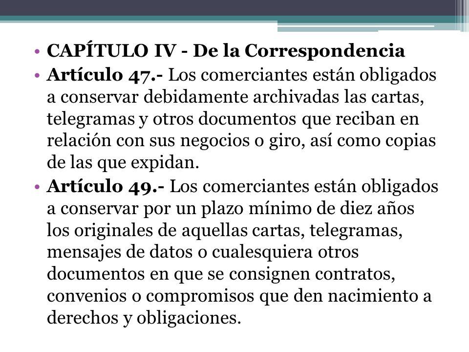 CAPÍTULO IV - De la Correspondencia