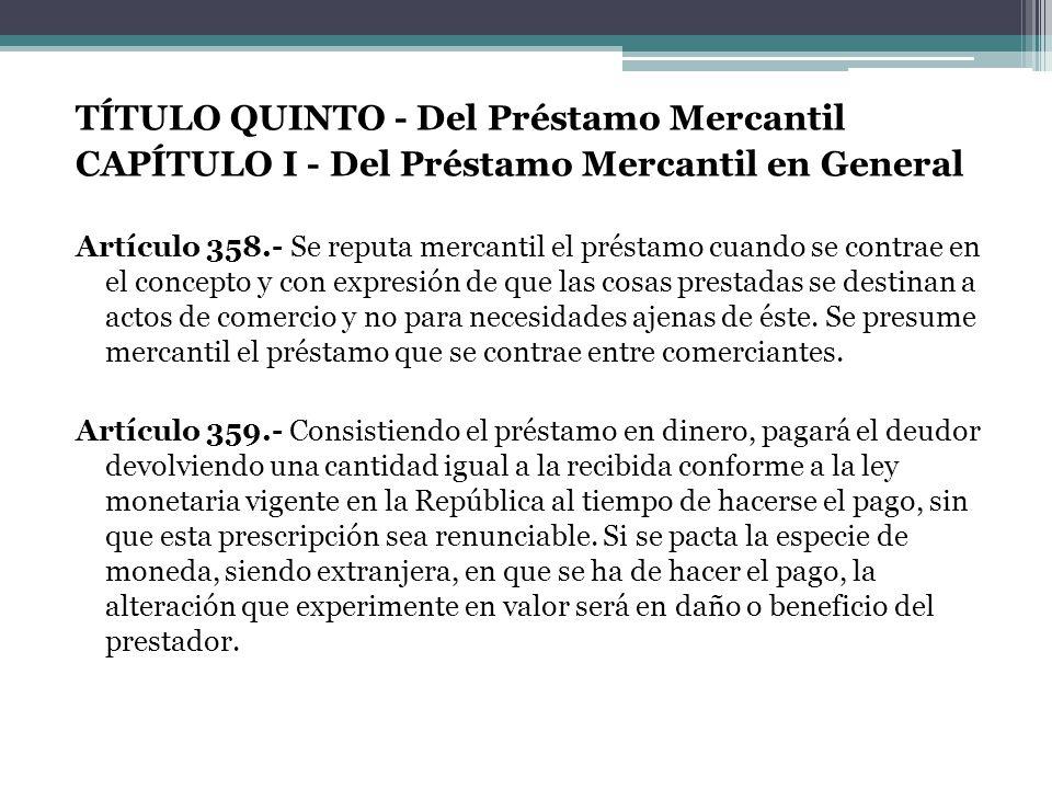 TÍTULO QUINTO - Del Préstamo Mercantil