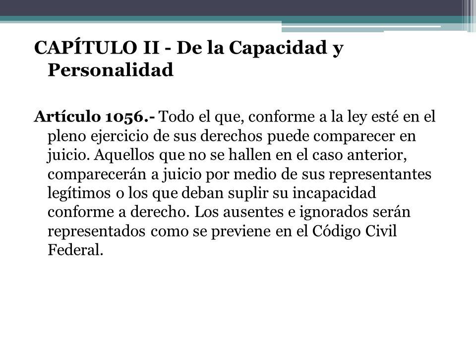 CAPÍTULO II - De la Capacidad y Personalidad