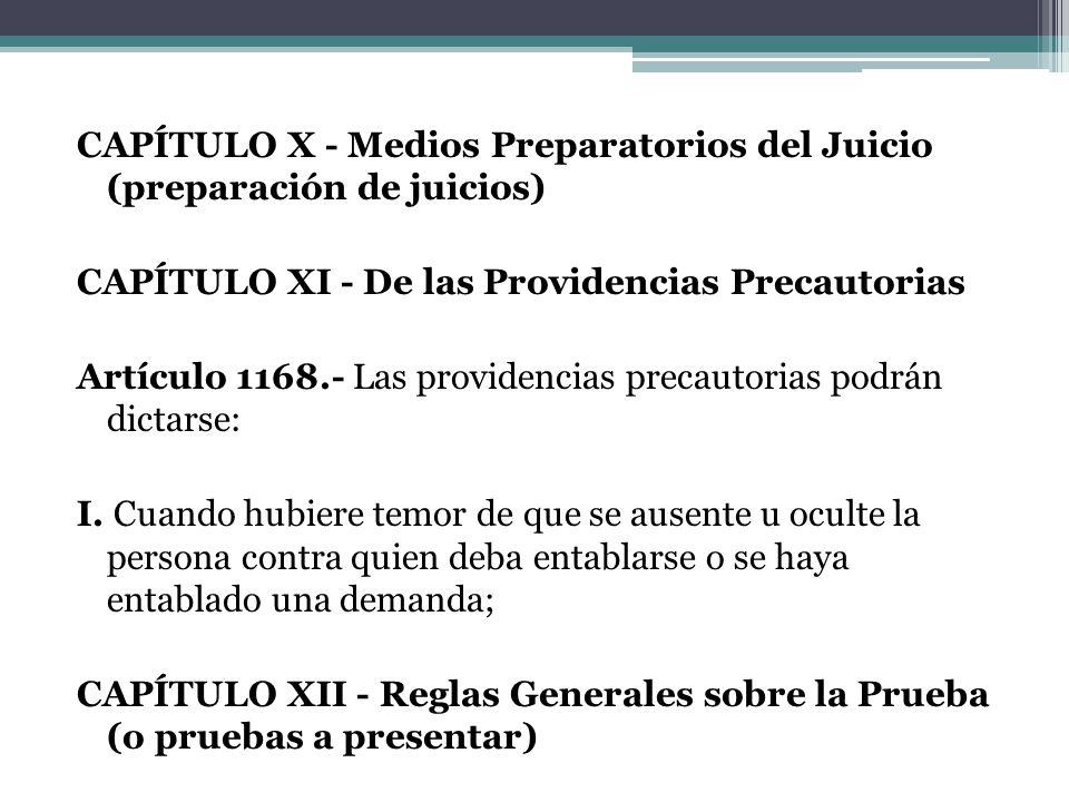 CAPÍTULO X - Medios Preparatorios del Juicio (preparación de juicios) CAPÍTULO XI - De las Providencias Precautorias Artículo 1168.- Las providencias precautorias podrán dictarse: I.