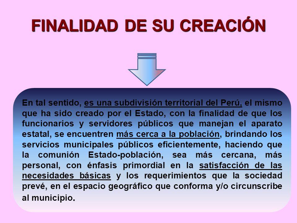 FINALIDAD DE SU CREACIÓN