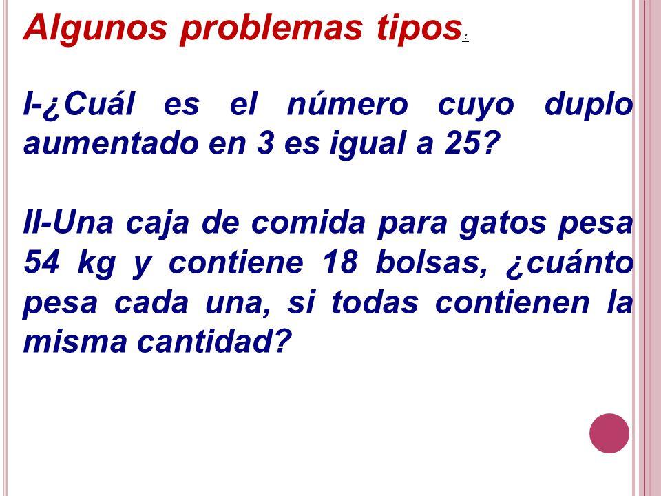 Algunos problemas tipos: