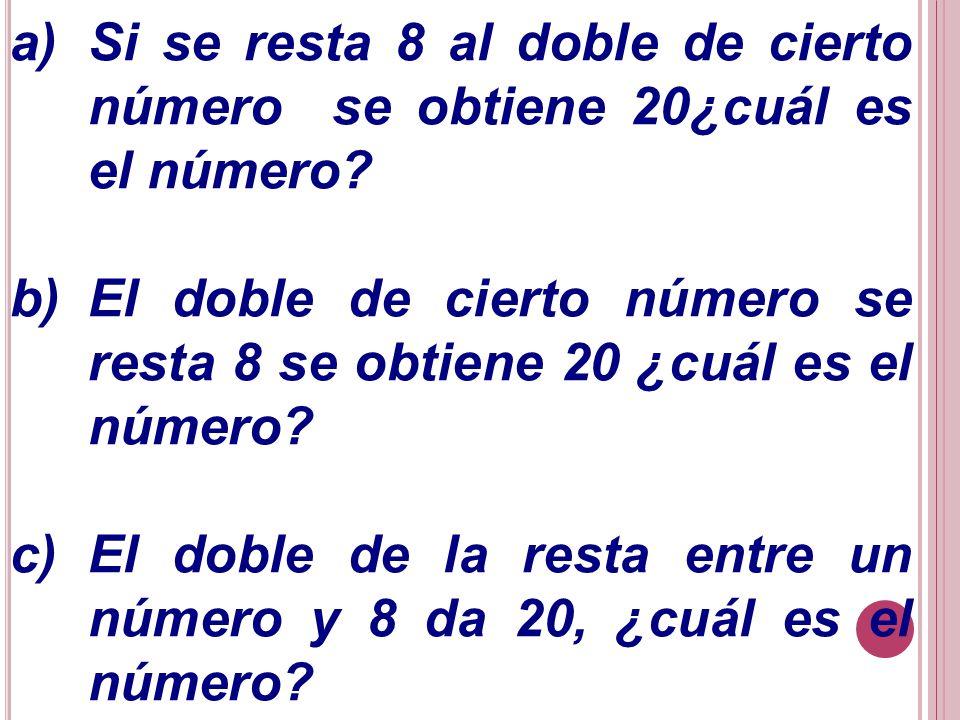 Si se resta 8 al doble de cierto número se obtiene 20¿cuál es el número