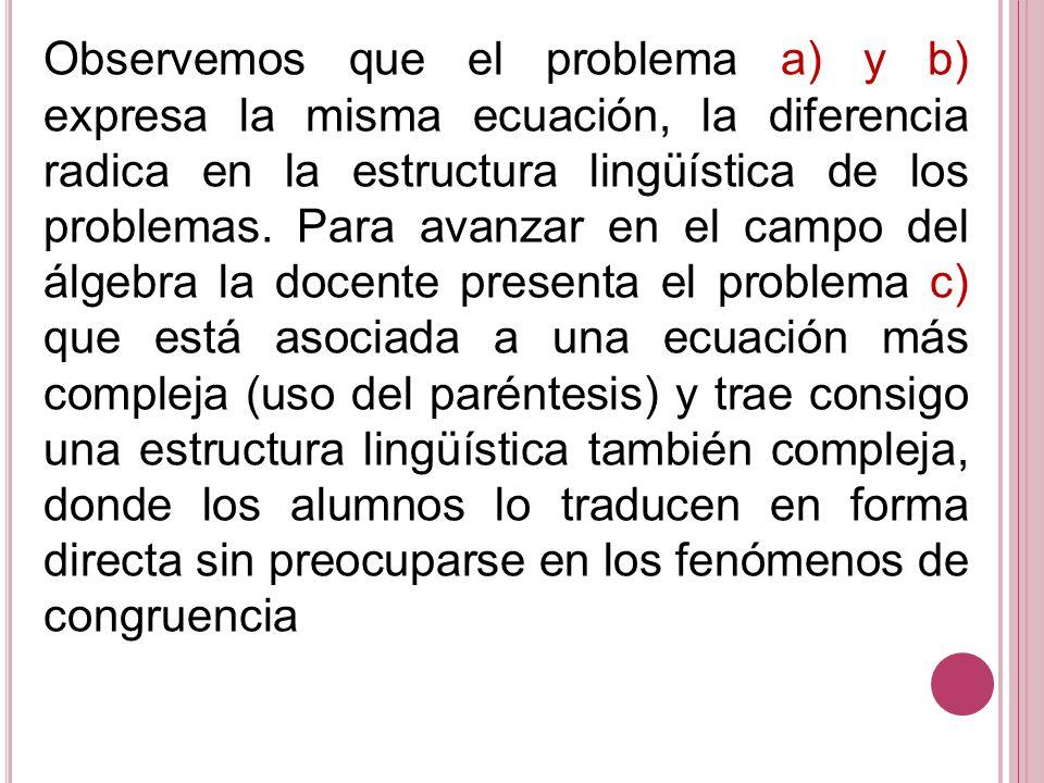 Observemos que el problema a) y b) expresa la misma ecuación, la diferencia radica en la estructura lingüística de los problemas.