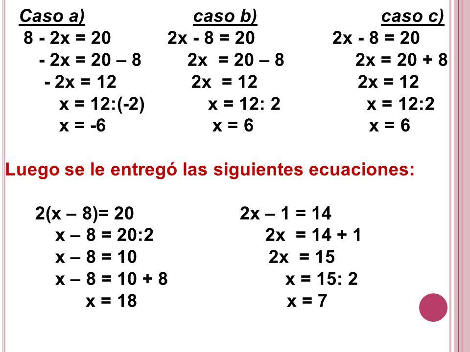 Caso a) caso b) caso c) 8 - 2x = 20 2x - 8 = 20 2x - 8 = 20. - 2x = 20 – 8 2x = 20 – 8 2x = 20 + 8.