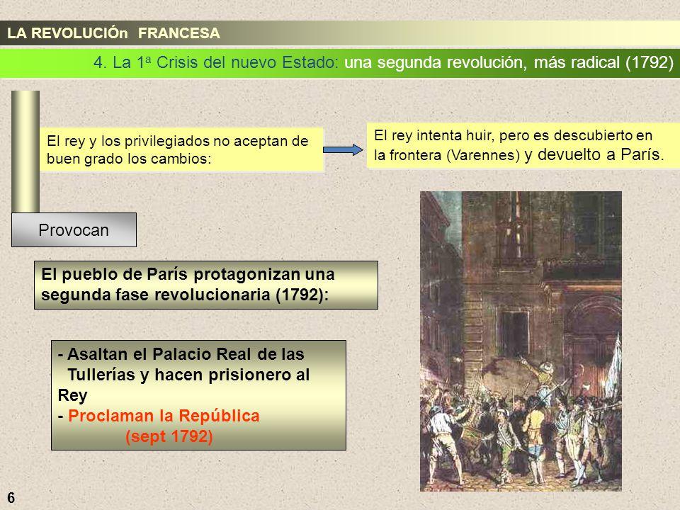 - Asaltan el Palacio Real de las Tullerías y hacen prisionero al Rey