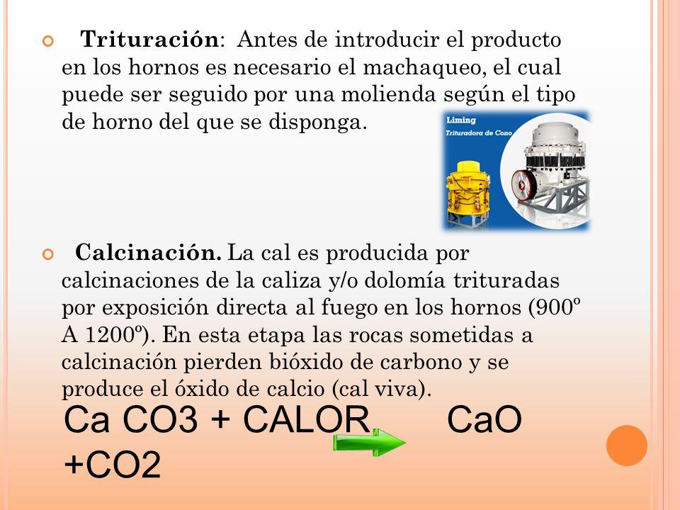 Trituración: Antes de introducir el producto en los hornos es necesario el machaqueo, el cual puede ser seguido por una molienda según el tipo de horno del que se disponga.