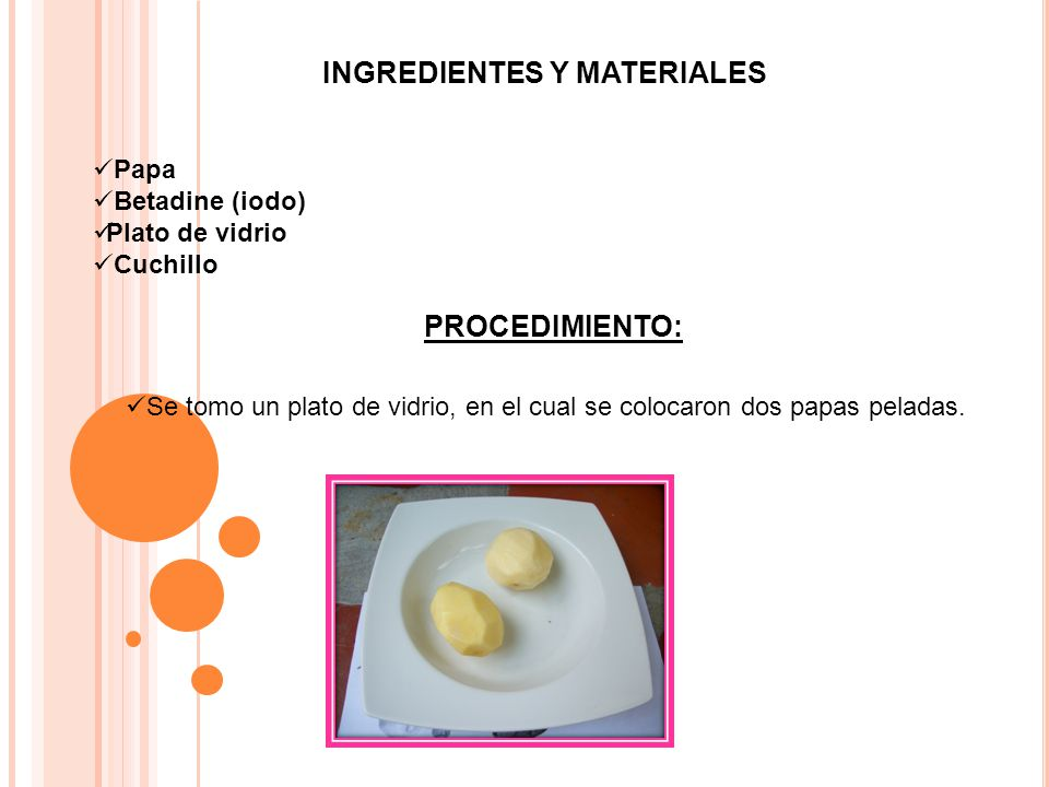 INGREDIENTES Y MATERIALES