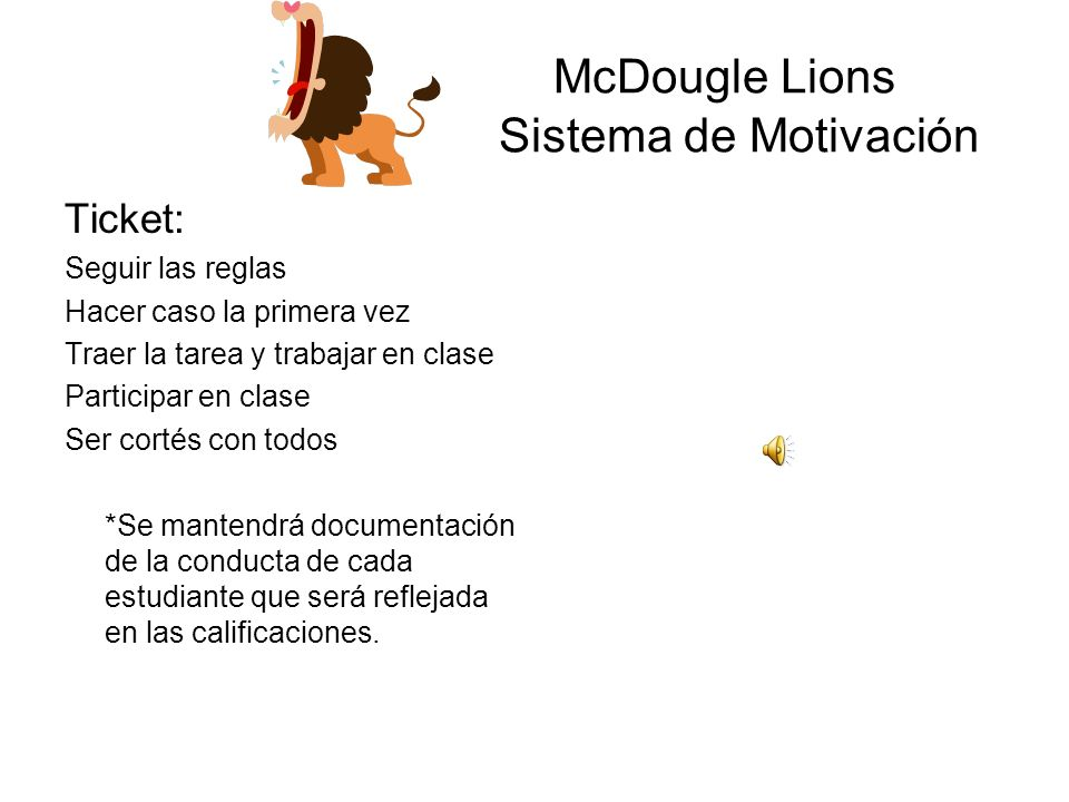 McDougle Lions Sistema de Motivación
