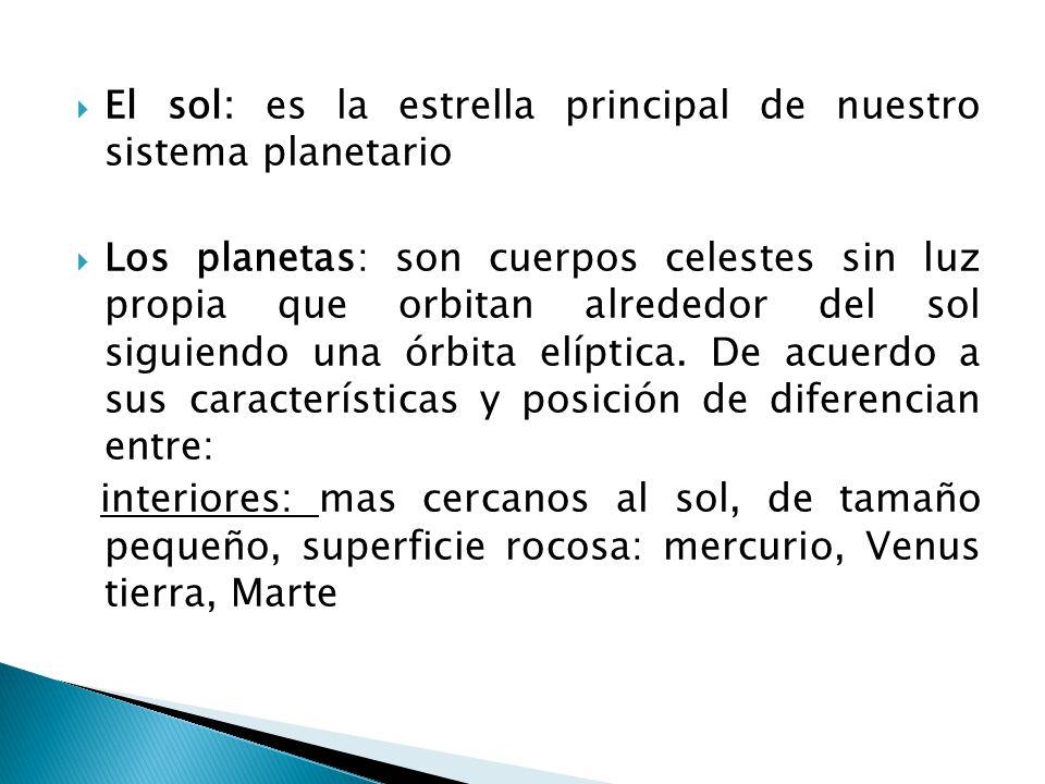 El sol: es la estrella principal de nuestro sistema planetario
