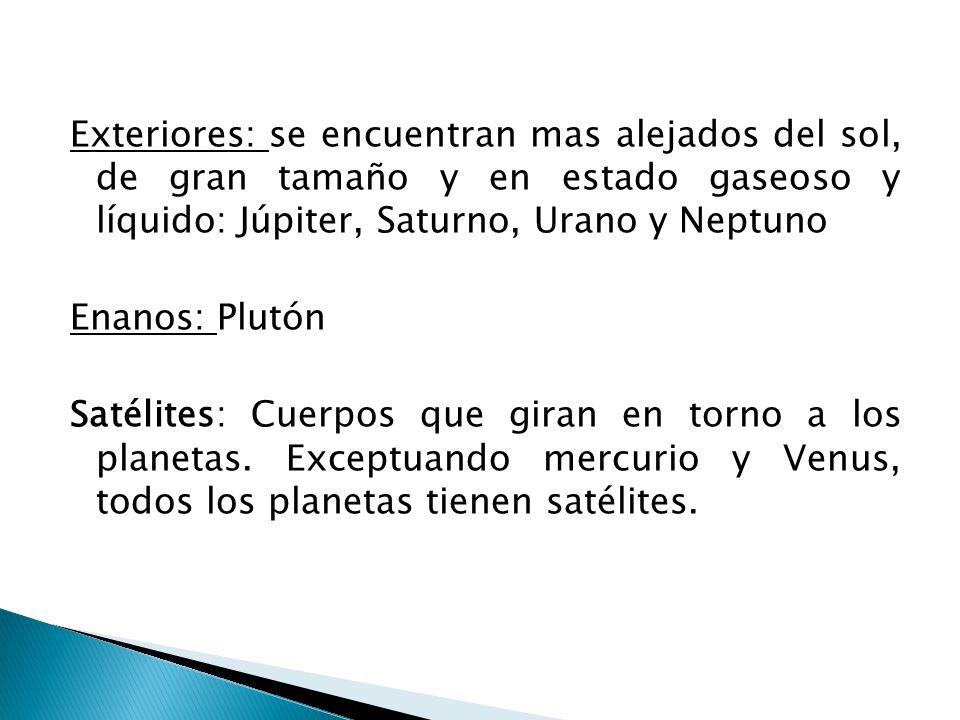 Exteriores: se encuentran mas alejados del sol, de gran tamaño y en estado gaseoso y líquido: Júpiter, Saturno, Urano y Neptuno Enanos: Plutón Satélites: Cuerpos que giran en torno a los planetas.