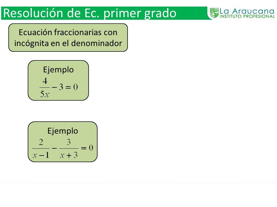 Ecuación fraccionarias con incógnita en el denominador