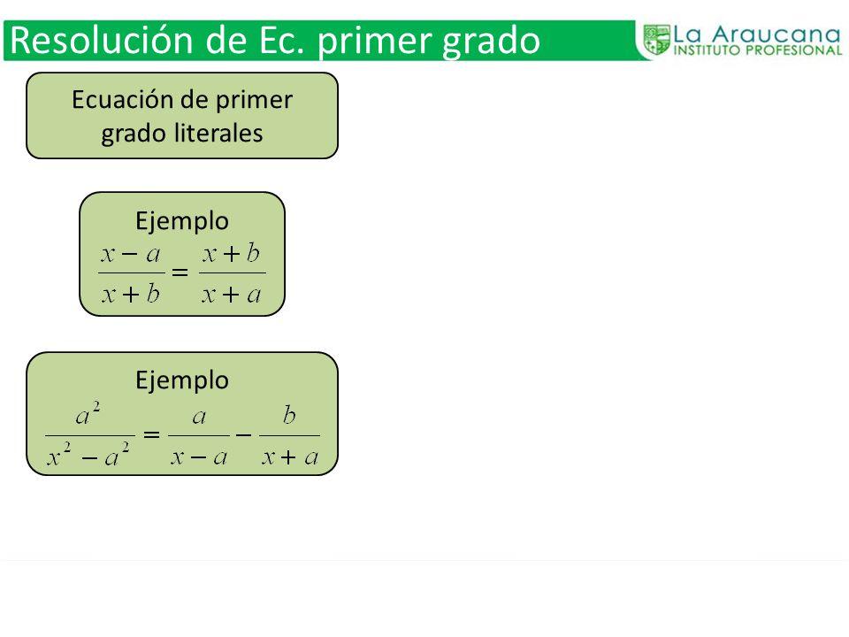Ecuación de primer grado literales
