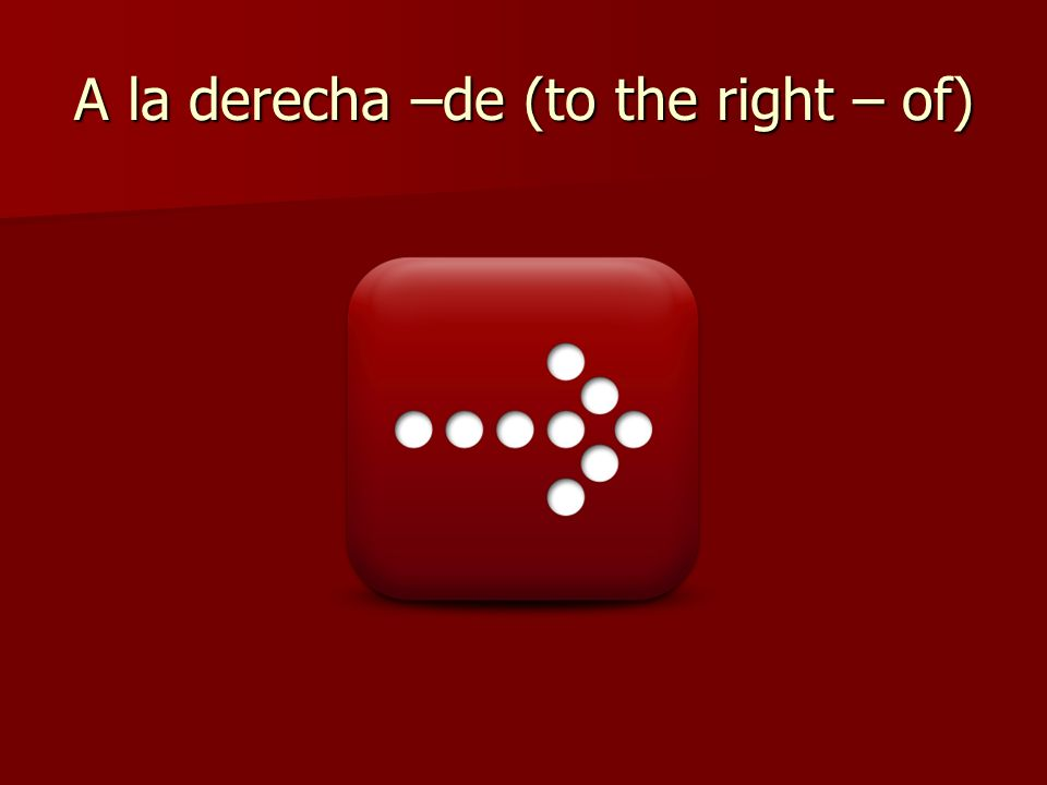 A la derecha –de (to the right – of)