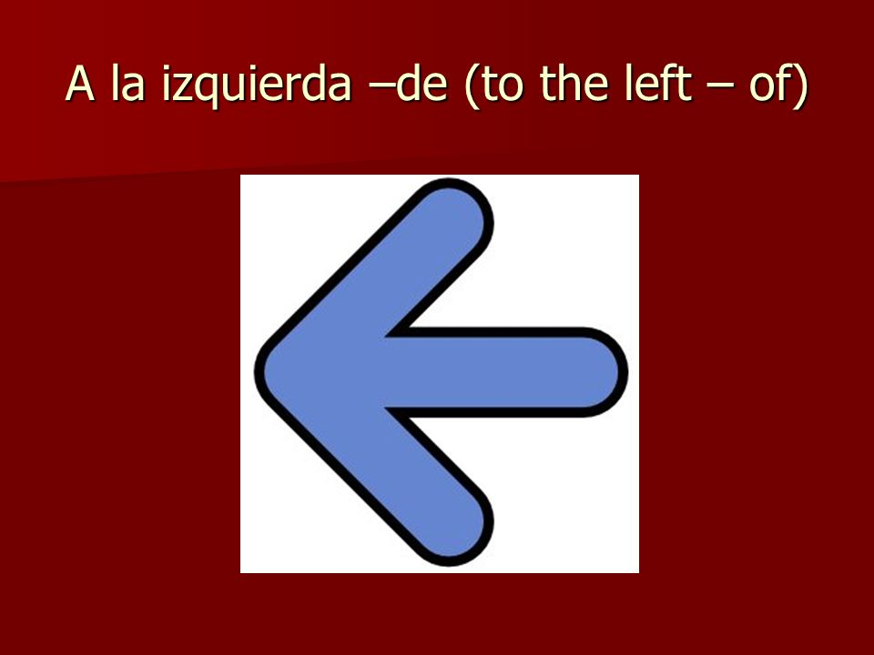 A la izquierda –de (to the left – of)