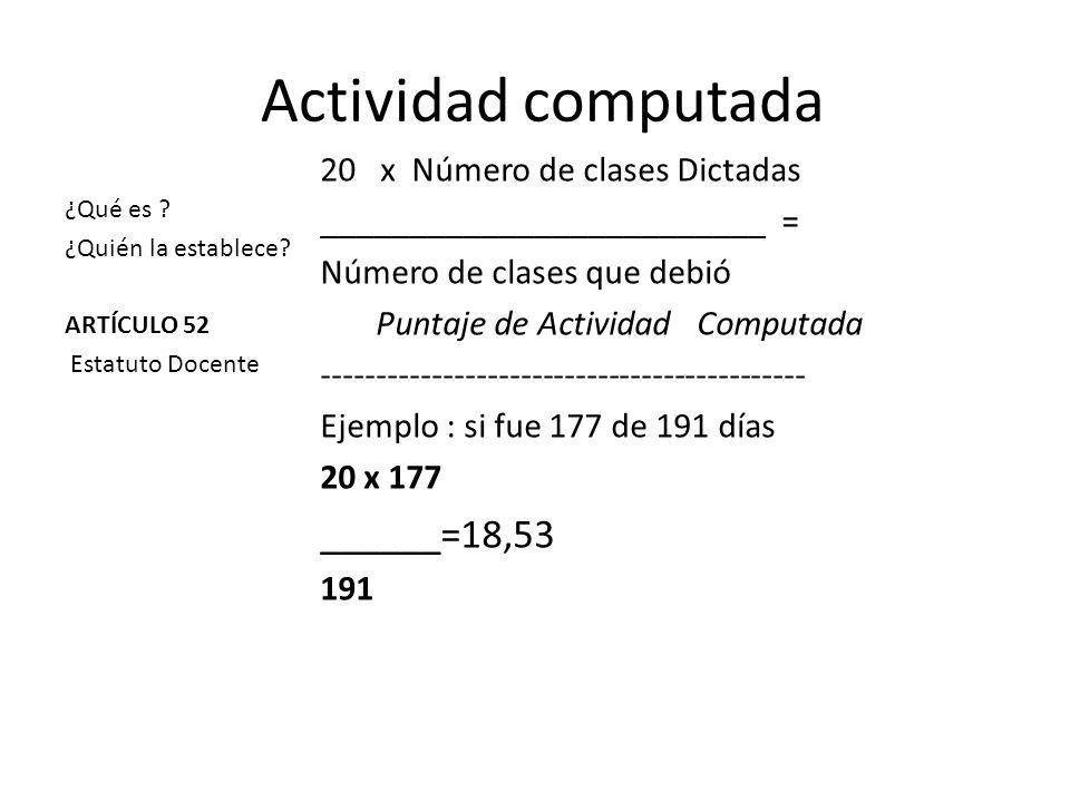 Actividad computada ______=18,53 x Número de clases Dictadas