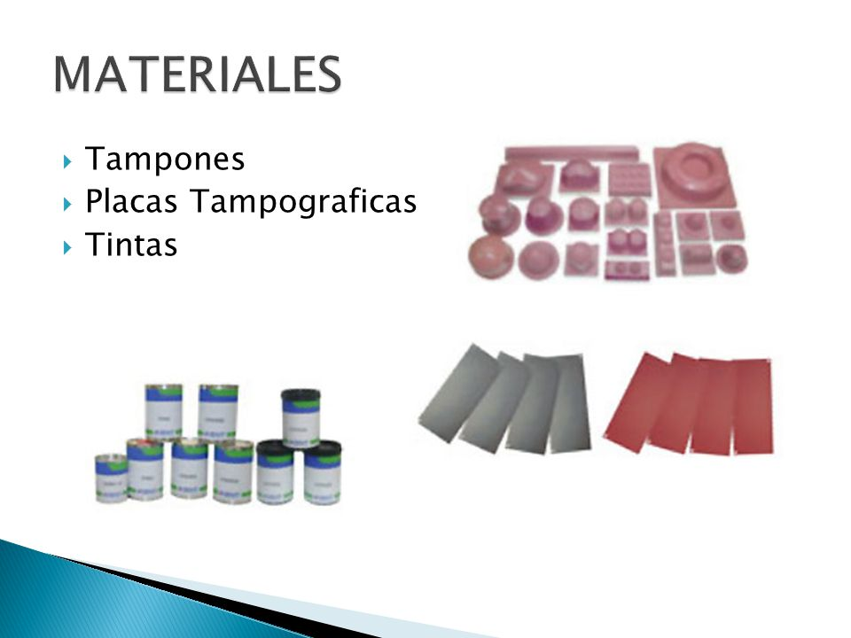 MATERIALES Tampones Placas Tampograficas Tintas