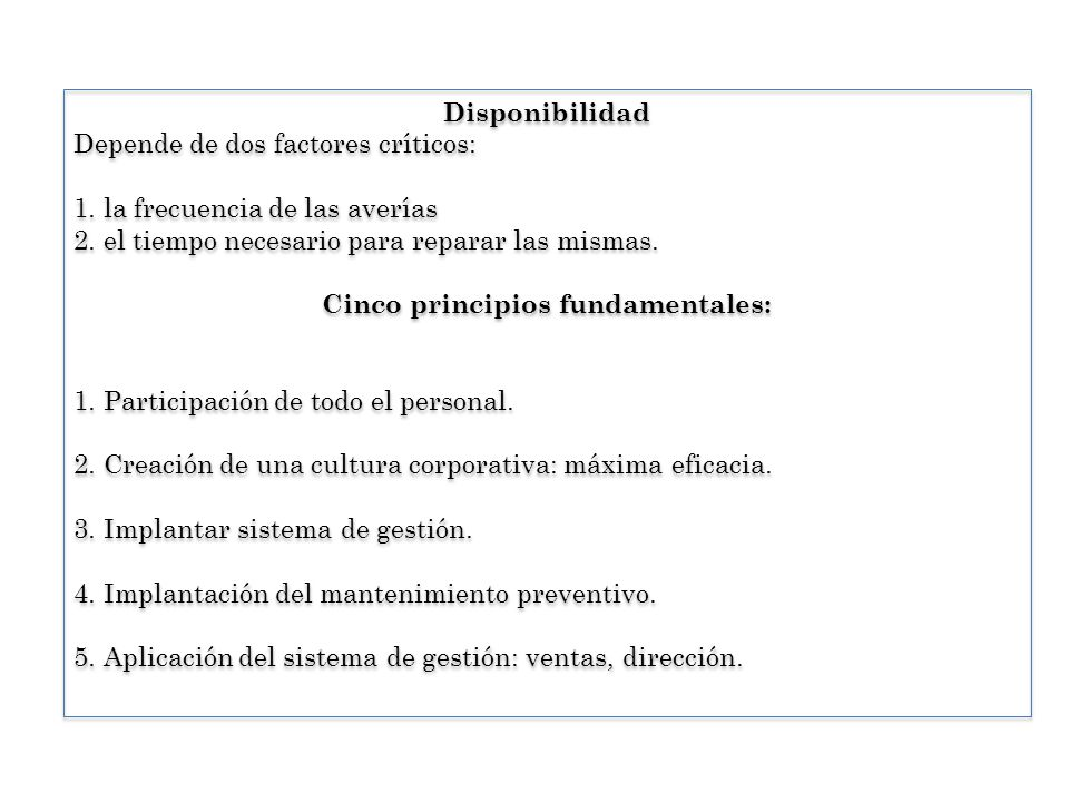 Cinco principios fundamentales: