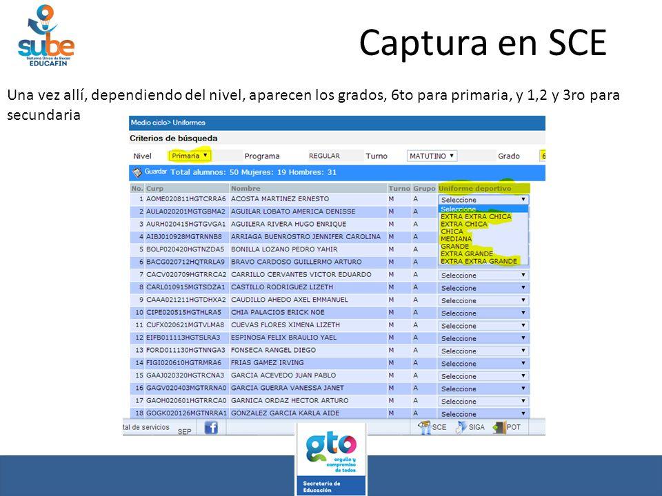 Captura en SCE Una vez allí, dependiendo del nivel, aparecen los grados, 6to para primaria, y 1,2 y 3ro para secundaria.