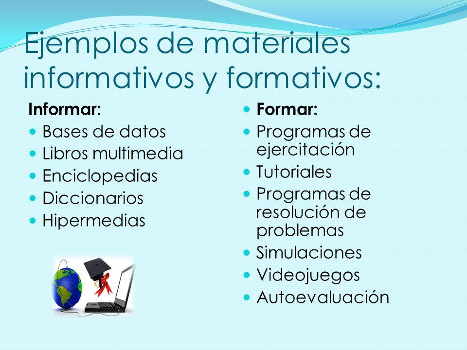 Ejemplos de materiales informativos y formativos: