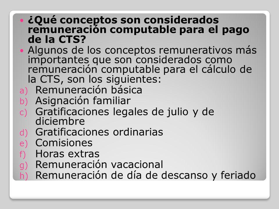 ¿Qué conceptos son considerados remuneración computable para el pago de la CTS