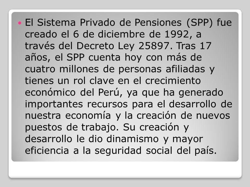 El Sistema Privado de Pensiones (SPP) fue creado el 6 de diciembre de 1992, a través del Decreto Ley 25897.