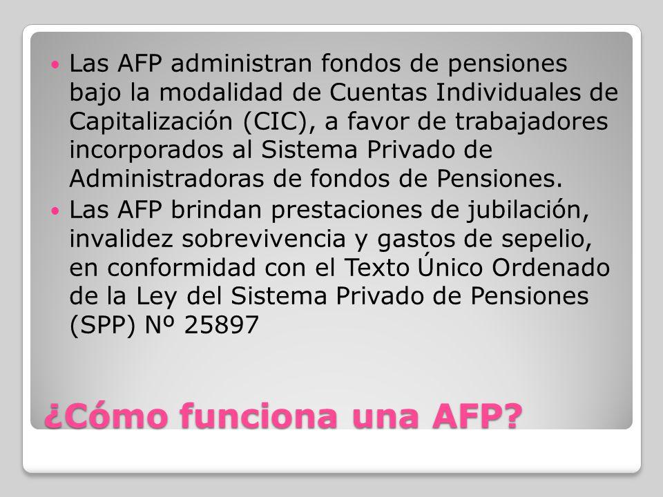 Las AFP administran fondos de pensiones bajo la modalidad de Cuentas Individuales de Capitalización (CIC), a favor de trabajadores incorporados al Sistema Privado de Administradoras de fondos de Pensiones.
