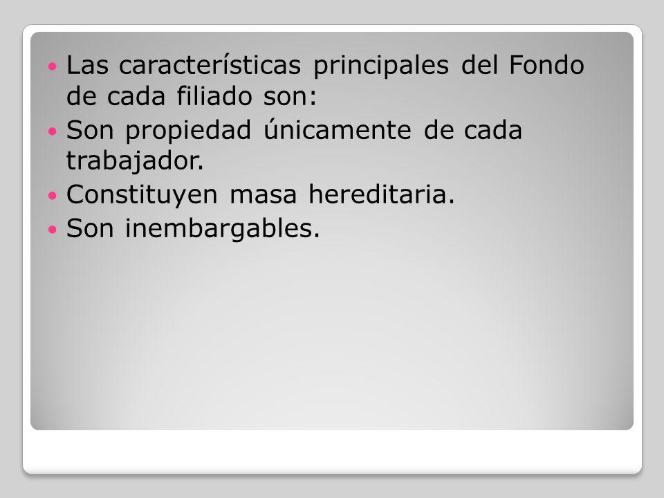Las características principales del Fondo de cada filiado son: