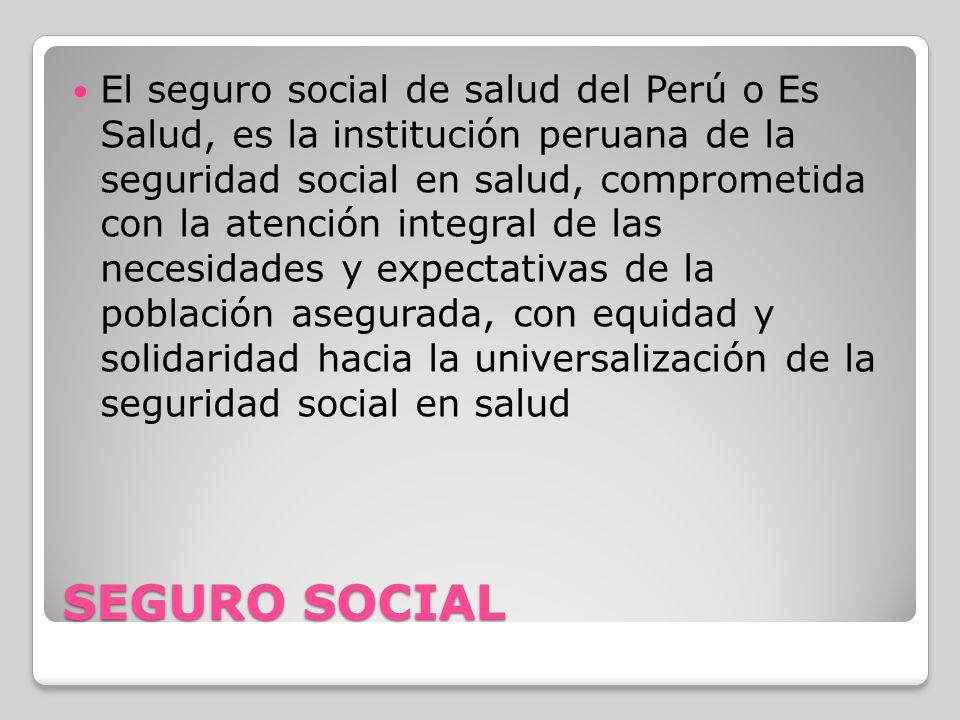El seguro social de salud del Perú o Es Salud, es la institución peruana de la seguridad social en salud, comprometida con la atención integral de las necesidades y expectativas de la población asegurada, con equidad y solidaridad hacia la universalización de la seguridad social en salud