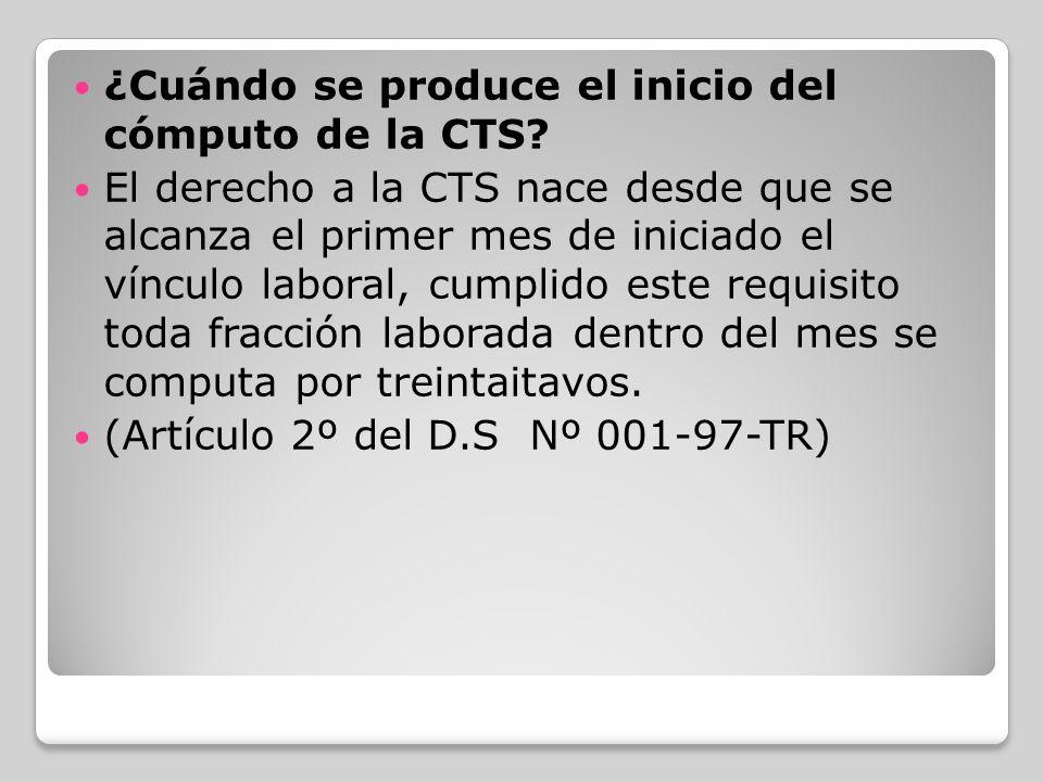 ¿Cuándo se produce el inicio del cómputo de la CTS