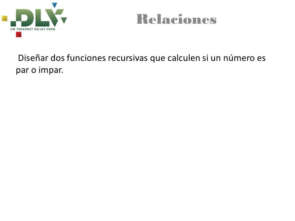 Relaciones Diseñar dos funciones recursivas que calculen si un número es par o impar.