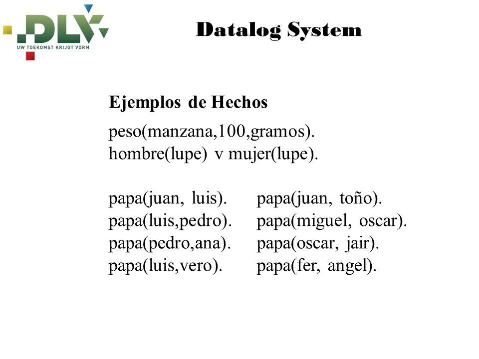 Datalog System Ejemplos de Hechos peso(manzana,100,gramos).