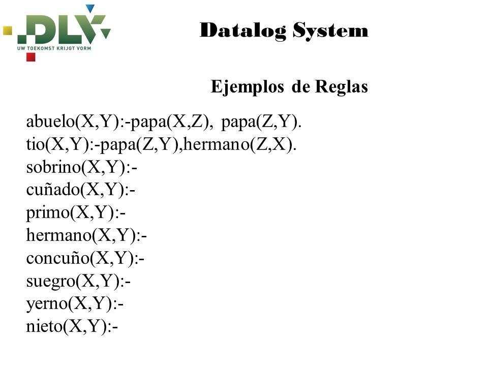 Datalog System Ejemplos de Reglas abuelo(X,Y):-papa(X,Z), papa(Z,Y).