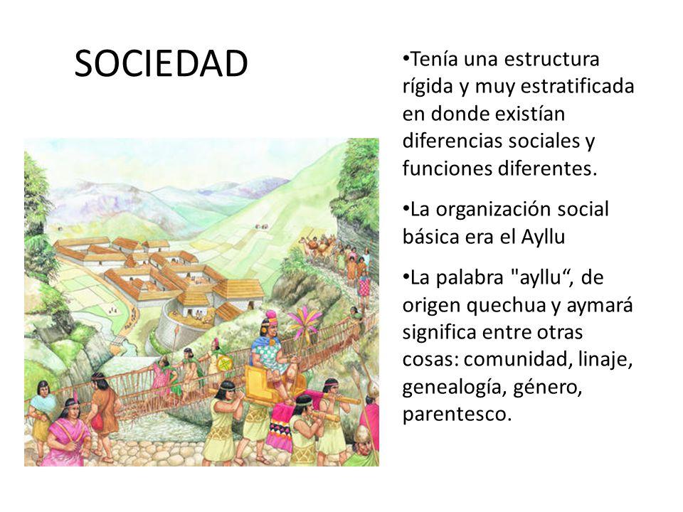 SOCIEDAD Tenía una estructura rígida y muy estratificada en donde existían diferencias sociales y funciones diferentes.