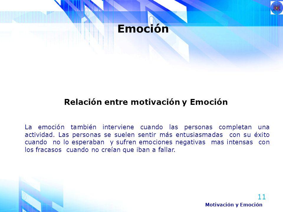 Relación entre motivación y Emoción