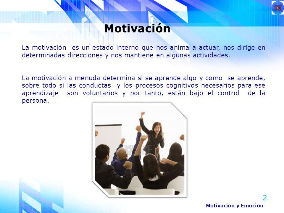 La motivación es un estado interno que nos anima a actuar, nos dirige en determinadas direcciones y nos mantiene en algunas actividades.