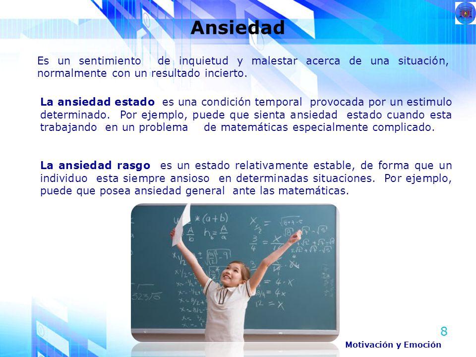 Ansiedad Es un sentimiento de inquietud y malestar acerca de una situación, normalmente con un resultado incierto.