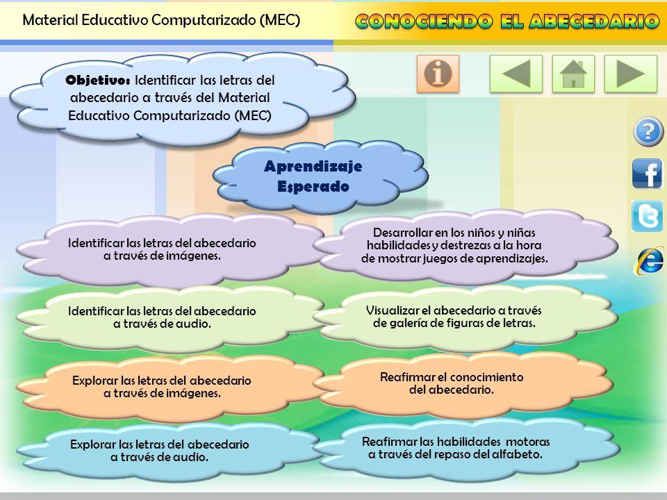 Objetivo: Identificar las letras del abecedario a través del Material Educativo Computarizado (MEC)