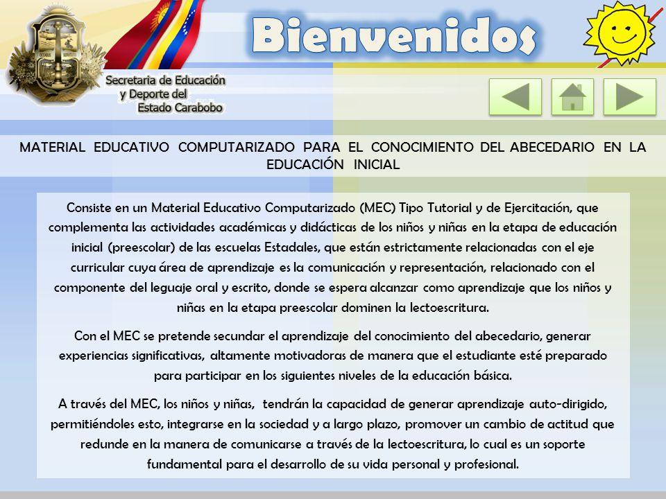 Bienvenidos MATERIAL EDUCATIVO COMPUTARIZADO PARA EL CONOCIMIENTO DEL ABECEDARIO EN LA EDUCACIÓN INICIAL.