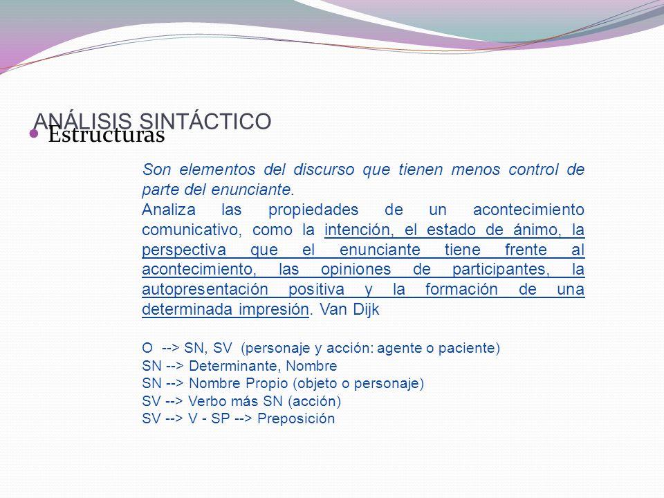 Estructuras ANÁLISIS SINTÁCTICO